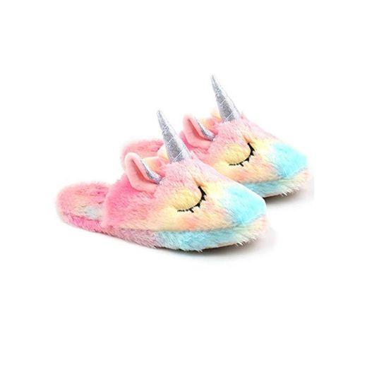 Unicornio Zapatillas de Estar por casa para Mujer, Zapatillas de Casa Invierno