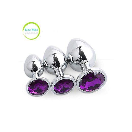 Doc Mao Enchufe de Acero Inoxidable con diseño de Joyas Color púrpura