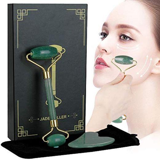 Lictin Rodillo de Jade Facial Masaje- 2 pcs Gua Sha Facial