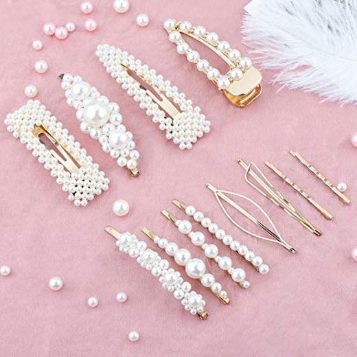 Pearl Hair Clip -12 PCS Pearl Hair Clip de Horquillas Horquillas Para