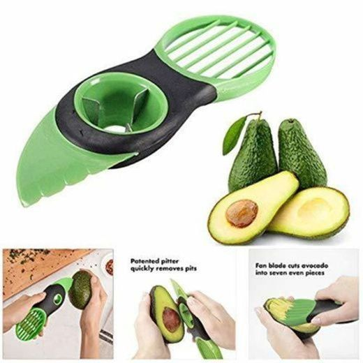 NUONA Good Grips Cortador de Aguacates, Pelador Aguacates Verde Rebanadora Fruta, 3