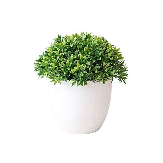 Turbobm Plantas Artificiales Bonsai Plantas de Maceta de árbol pequeño Flores Falsas