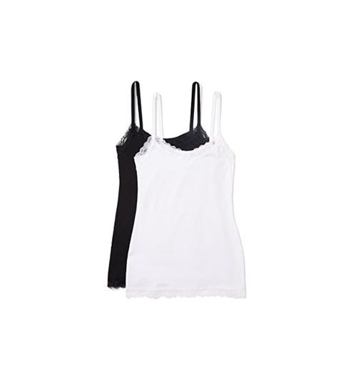 Marca Amazon - IRIS & LILLY Camiseta de Tirantes con Encaje Body