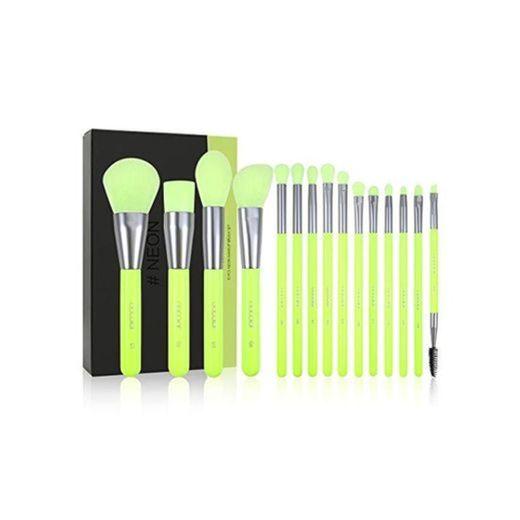 Docolor Makeup Brushes Set Neon Green 15Pcs Premium Premium Synthetic Kabuki Foundation