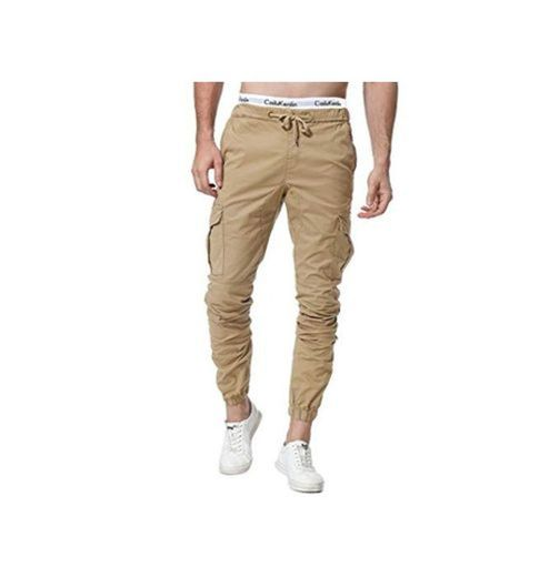 ZOEREA Pantalones Hombre Casuales Deporte Elásticos Joggers Largos Pants con Bolsillos Algodón