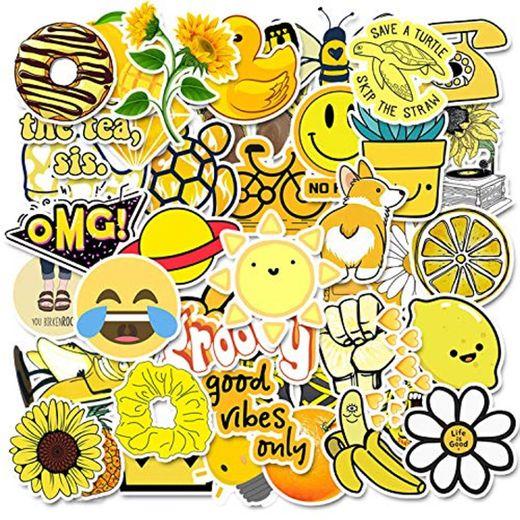 50 Piezas Amarillas Lindas Pegatinas de Botella de Agua de Dibujos Animados