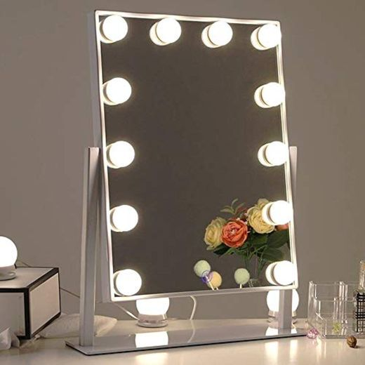 Chende Blanco Espejo Maquillaje con luz