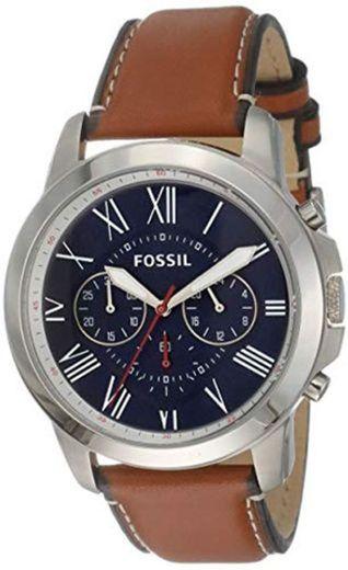 Fossil Reloj Cronógrafo para Hombre de Cuarzo con Correa en Piel FS5210