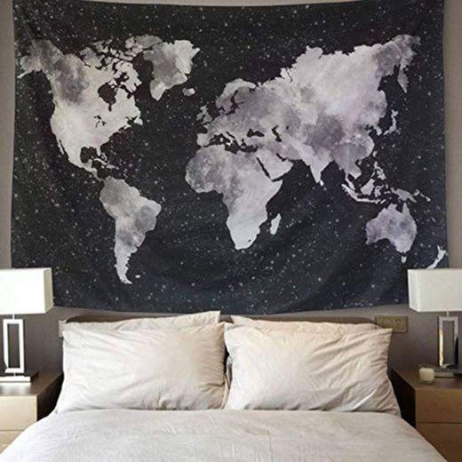 LOMOHOO Tapiz Mapa del Mundo para Pared Decoración Retro Tapiz de Tela