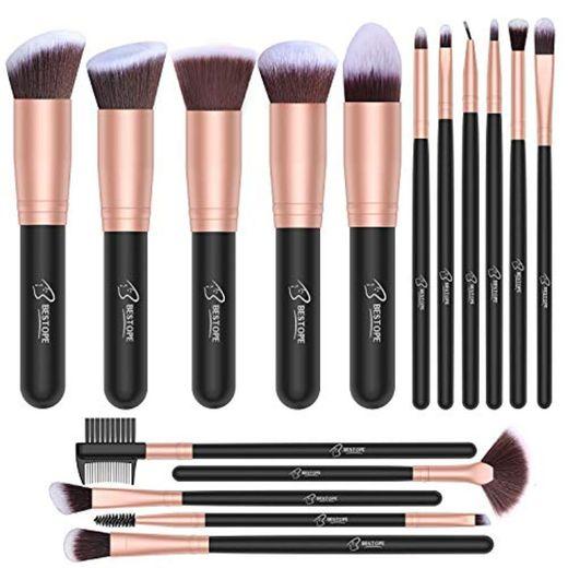 Set de brochas de maquillaje profesional BESTOPE 16 piezas Pinceles de maquillaje