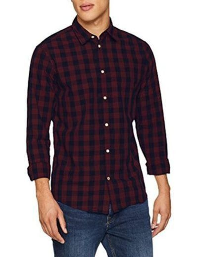 JACK & JONES Jjegingham Shirt L/s Camisa, Multicolor