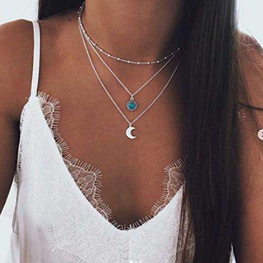 Jovono Collar Bohemio Multi Capa con Luna Piña para Mujeres y Niñas