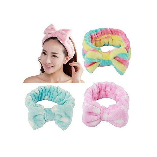 3 Pieces Women/Girl Adorable Fashion/Soft Cut Carol Plush Bun Makeup Cosmetic Shower