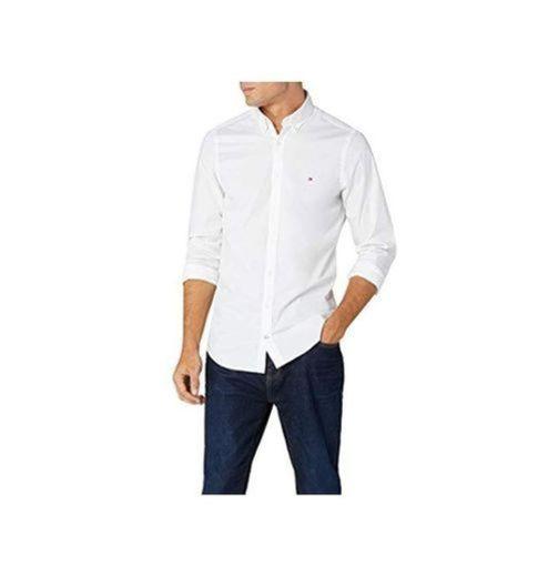 Tommy Hilfiger Core Stretch Slim Poplin Shirt Camisa, Blanco