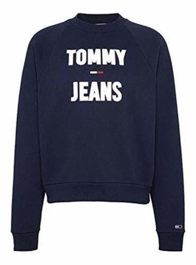 Tommy Jeans Sudadera Logo Raglan Marino Mujer S Azul