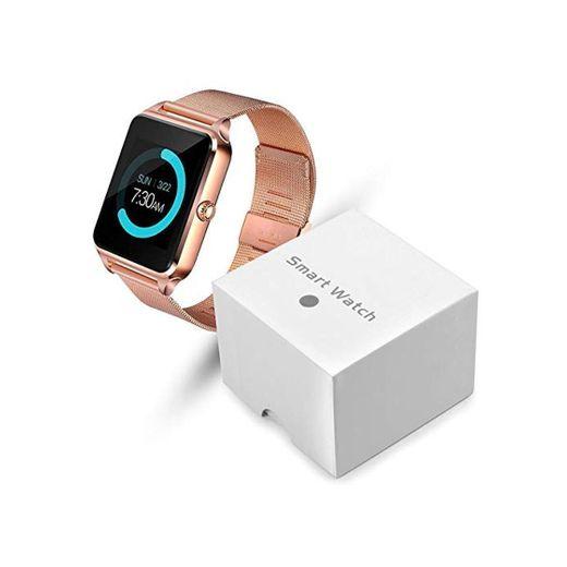 YWSZY Reloj Inteligente Mujer Pantalla Táctil Led Bluetooth Deporte Música Multifunción Correa De Acero Reloj Inteligente Reloj Mujer Reloj Relogio Feminino @ Gold