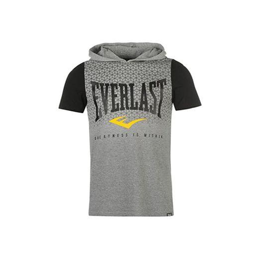 Everlast Hombre Capucha Camiseta Cuello Redondo Ropa Vestir Casual Camisa Gris Large