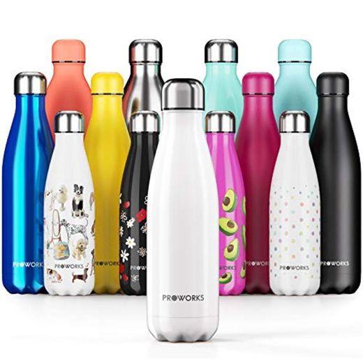 Proworks Botellas de Agua Deportiva de Acero Inoxidable