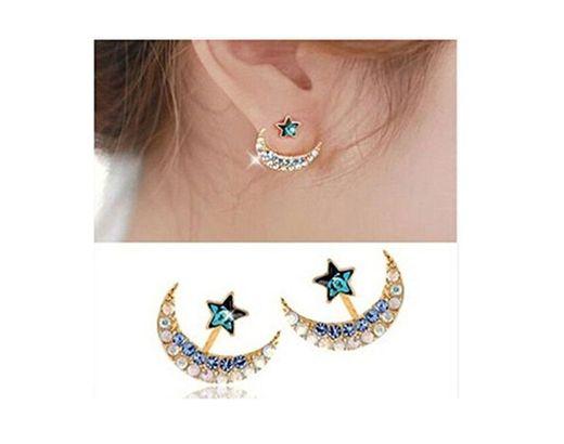 Hwiionne Pendientes de Diamantes de Imitación de Cristal en Forma de Estrella de Luna de Niña de Oro Amarillo