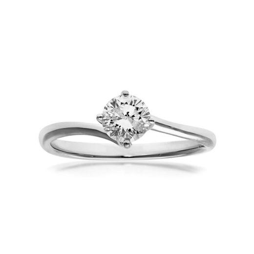 Naava Anillo para Mujer de Oro Blanco 18K con Diamante Talla 12