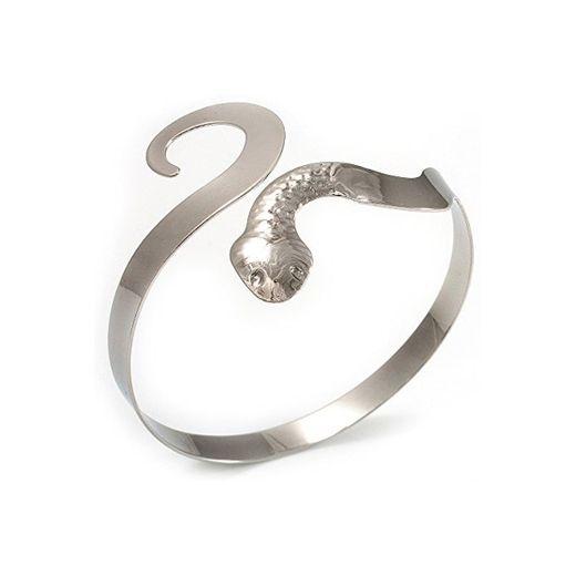 Avalaya Chapado en rodio brazalete de piel de serpiente diastrófico