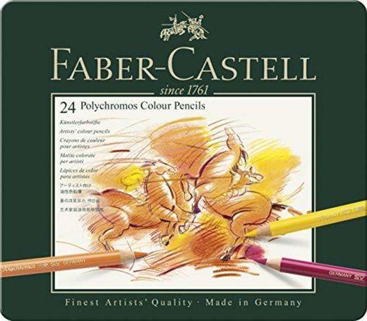 Faber-Castell 110024 - Estuche de metal con 24 lápices de colores polychromos