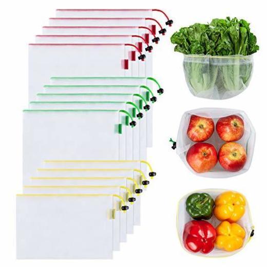 Ecowaare 15PCS Bolsas Reutilizables Compra Ecológicas Bolsas Fruta Reutilizables para Almacenamiento Verduras