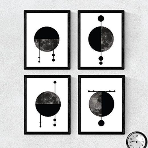 Nacnic Set de 4 láminas para enmarcar Cuatro Lunas Posters Estilo nórdico