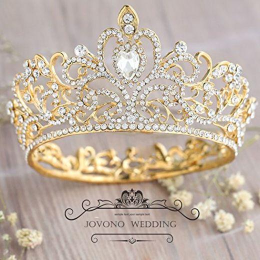 Corona de cristal vintage para mujer con diamantes de imitación, tiara de