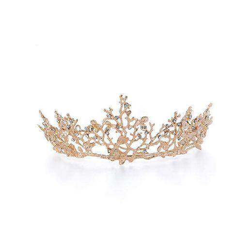 Czemo Tiara de Novia para Mujer Corona Cabello Joyería Rhinestone Diadema para
