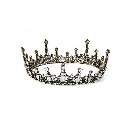 Czemo Tiara de Novia para Mujer Corona Barroca Cabello Joyería Rhinestone Diadema