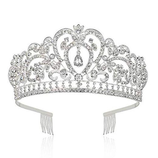 Makone Tiara Corona de Cristal con diamantes de imitación peine para corona