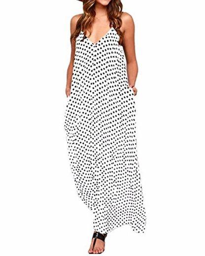 ZANZEA Mujeres Elegante Bohemio Algodón Casual Vestido Suelto Largo Playa Lunares Cuello V sin Mangas Blanco EU 42
