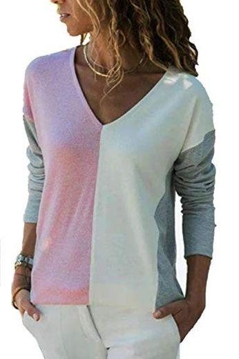 YOINS Camiseta de Manga Larga para Mujer Camisa Cuello V Blusa Sexy