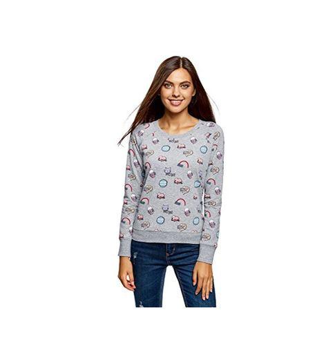 oodji Ultra Mujer Suéter Básico Estampado, Gris, ES 36