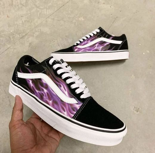 Purple Custom Flame Vans