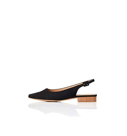 Marca Amazon - FIND Flat Slingback Chisel Toe Bailarinas, Negro