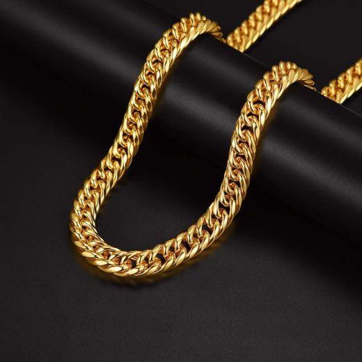 Cadena de Curb Cuban Collar Acero Inoxidable Chapado en Oro Amarillo 18K