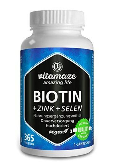 Biotina, crecimiento del cabello + selenio + zinc, para piel, cabello y uñas sanos, 365 comprimidos para 1 año, elevada concentración de biotina (vitamina B7), 10.000 mcg, producto alemán de calidad, ahora a un precio promocional y devolución gratuita dur