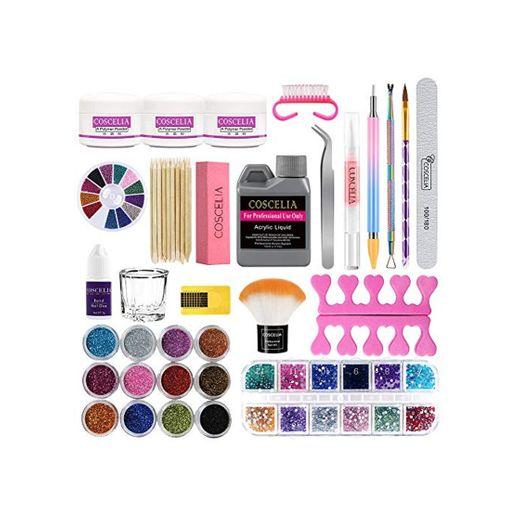 Kit Uñas Acrilicas Completo Profesional Kit de Manicura Uñas Acrílicas Accesorios y Decoraciones 12pcs Pedrería Uñas Limas y Acrilico Nail Art