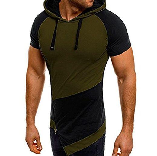 Chaleco Ocasional con Capucha Superior del Verano de los Hombres Chaleco Superior sin Mangas con Capucha Camiseta de la Moda de los Deportes