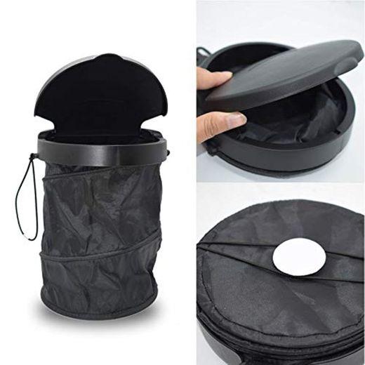 Ruesious 4L Portátil Plegable de Basura del Coche Cubo