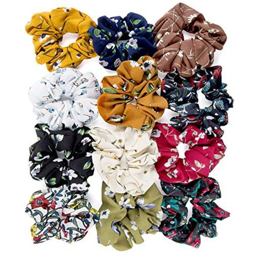 ZOEON 12 Piezas Scrunchies de Pelo Flor de Gasa Elásticos Lazos de