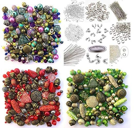 Approx 1200 Jewellery Beads includes 3 x sets of Green