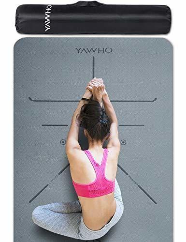 YAWHO Colchoneta de Yoga Esterilla Yoga Material medioambiental TPE,Modelo:183cmx66cm Espesor:6milímetros,Tapete de Deporte
