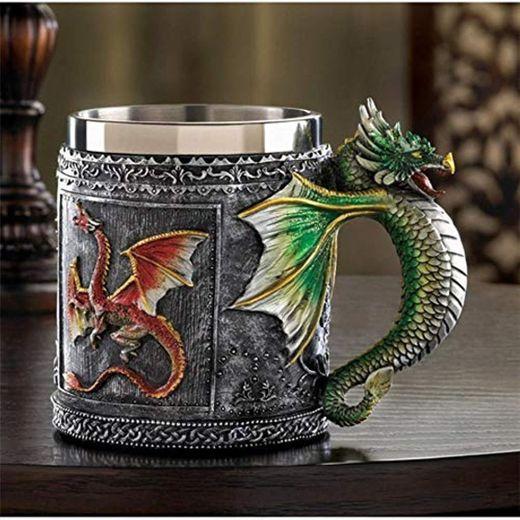 Mug Taza Gift Birthday Tazas Personalizadas De Doble Pared De Acero Inoxidable 3D Dragon Tazas Taza De Café Dragon Drinking Cup Canecas Copo