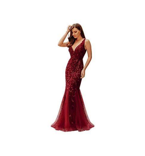 Ever-Pretty a Sirena Tul Vestido de Noche Cuello en V sin Respaldo