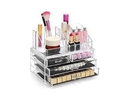 Display4top Caja acrílica Estante de maquillajes Maquillaje Cosméticos Joyería Organizador