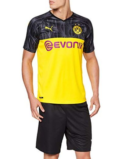 Puma BVB Cup Shirt Replica with Evonik Without Opel Logo Camiseta, Hombre,