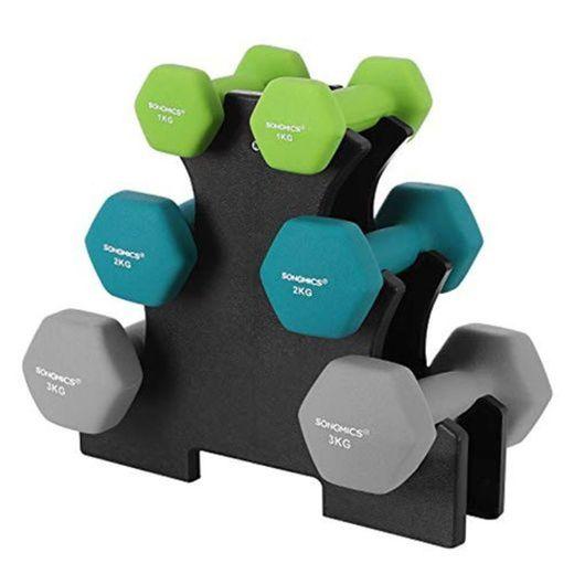 SONGMICS Juego de Mancuernas Hexagonales con Soporte - 2 x 1 kg